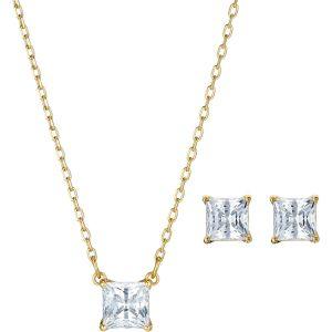 Swarovski Attract Set, White, Gold Plating 5510683