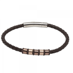 Unique and Co Men's Dark Brown Leather Bracelet, Brown and Rose Plated