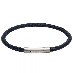 Unique and Co Men's Stainless Steel Matte Polished Blue Leather Bracelet B444BL