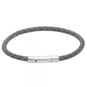 Unique and Co Men's Stainless Steel Matte Polished Antique Blue Leather Bracelet B444MO