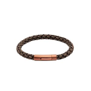 Unique and Co Men's Dark Brown Leather Bracelet with Copper Tone Clasp - 21cm