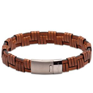 Unique and Co Antique Dark Brown Leather bracelet with Matte/Polished Steel Clasp