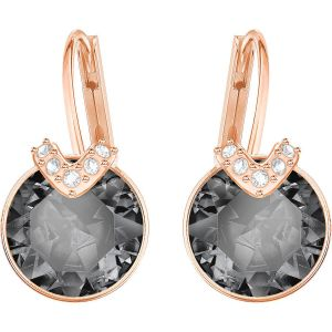 Swarovski Bella V Pierced Earrings, Grey, Rose Gold Plating 5299317