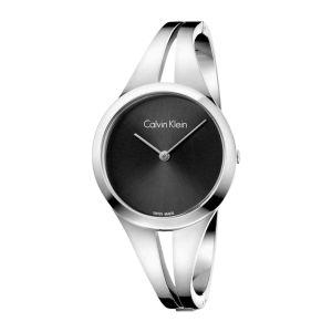Calvin Klein Ladies Addict Bangle Watch - Silver and Black Tone