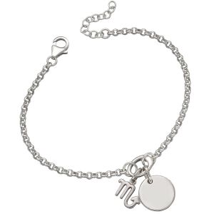 Sterling Silver Charm Bracelet - Zodiac and Disc