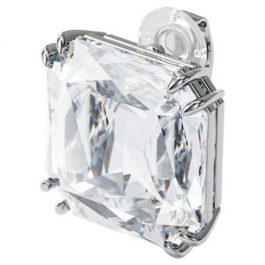 Swarovski Mesmera Single Square Cut Crystal Earring - White with Mixed Metal Finish