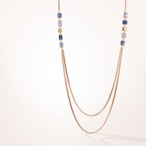 Coeur De Lion GeoCUBE and Chain Necklace - Rose and Blue 5053100700