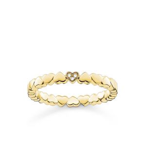 Thomas Sabo Gold Plated Heart and Diamond Ring