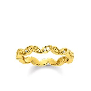 Thomas Sabo Gold Plated and Diamond Leaves Ring