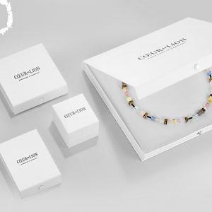 Coeur de Lion Multicoloured Blue/Rose Geocube Necklace