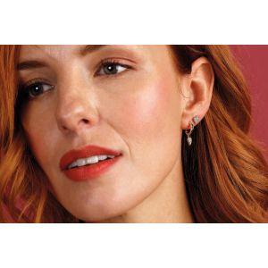 Kit Heath Desire Precious White Topaz Heart Stud Earrings