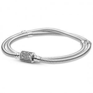 Pandora Moments Double Wrap Barrel Clasp Snake Chain Bracelet