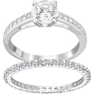 Swarovski 'I Do' Ring Set, White, Rhodium Plating 5184981, 5184979, 5184980