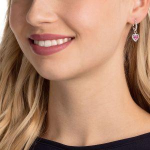 Swarovski One Pierced Earrings, Red, Rhodium Plating