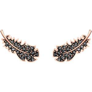 Swarovski Naughty Jet Pierced Earrings, Rose Gold Plating
