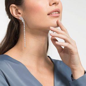 Swarovski Nice Long Pierced Earrings, White, Rhodium Plating 5493406