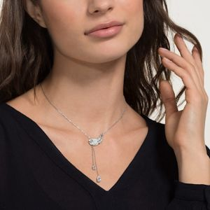 Swarovski Nice Y Necklace, White, Rhodium Plating 5493397