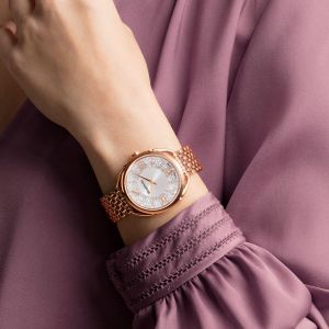 Swarovski Crystalline Glam Watch, Metal Bracelet, White, Rose Gold Tone