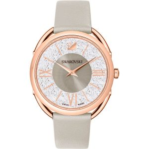 Swarovski Crystalline Glam Watch, Leather Strap, Grey, Rose Gold Tone 5452455
