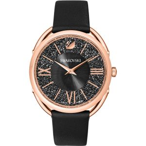 Swarovski Crystalline Glam  Watch, Leather Strap, Back, Rose Gold Plating