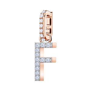 Swarovski Remix Collection Charm F, White, Rose Gold Plating