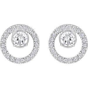 Swarovski Creativity Circle Pierced Earrings, Small, White, Rhodium Plating 5201707
