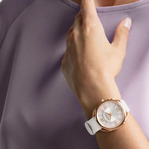 Swarovski Crystalline Glam Watch, Leather Strap, White, Rose Gold Tone 5452459