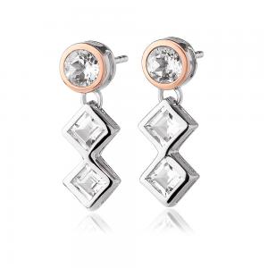 Clogau Welsh Royalty Anniversary White Topaz Earrings - 3SQAE