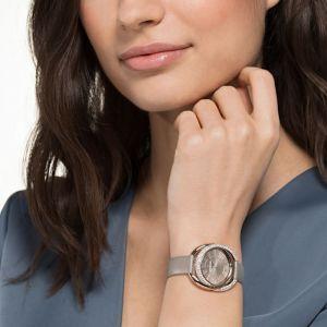 Swarovski Duo Watch, Leather Strap, Grey, Champagne gold tone PVD