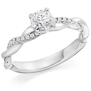 Round Brilliant Cut Engagement Ring with Twist Band