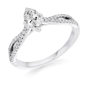 Marquise Cut Diamond Engagement Ring with Twist Band