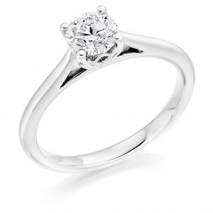 Brilliant Cut Classic Solitaire Engagement Ring with Smooth Band