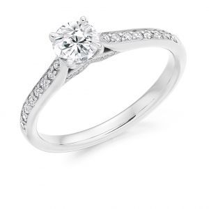Round Brilliant Solitaire Ring with Diamond Band