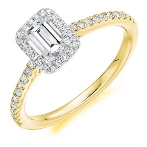 Emerald Cut Engagement Halo Ring with Diamond Set Shoulders