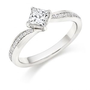 Princess Cut Diamond Engagement Ring with Grain Set Shoulders