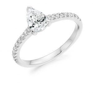 Pear Cut Diamond Solitaire Engagement Ring with Diamond Band