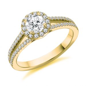 Brilliant Cut Halo Engagement Ring with Split Shank