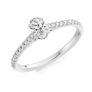 Oval cut diamond ring with diamond shoulders