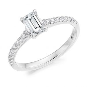 Emerald Cut Engagement Ring with Diamond Set Shoulders