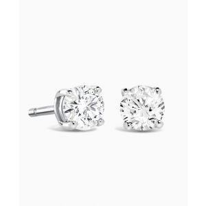 Brown & Newirth Round Brilliant Claw Set White Gold and Diamond Stud Earrings