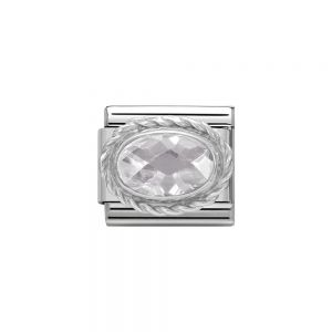 Nomination Classic Faceted Zirconia Charm - Sterling Silver Setting and Detail White 330604_010