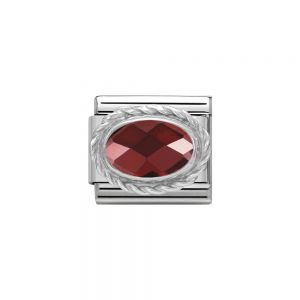 Nomination Classic Faceted Zirconia Charm - Sterling Silver Setting and Detail Red 330604_005
