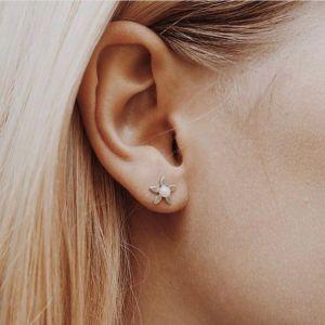byBiehl Forget Me Not Pearl Gold Stud Earrings 4-004P-GP