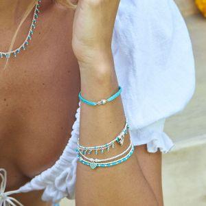 Annie Haak Gala Silver Charm Bracelet - Turquoise