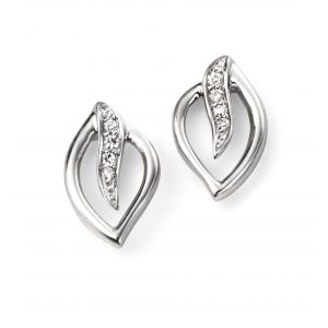 Elements Gold 9ct White Gold Diamond Leaf Earrings GE2077