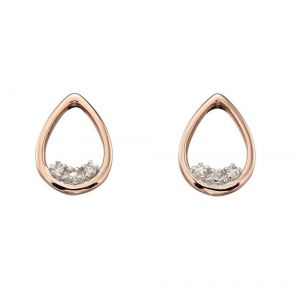 Elements Gold 9ct Rose Gold Teardrop Dainty Diamond Stud Earrings