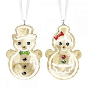 Swarovski Crystal Gingerbread Snowman Couple Ornament