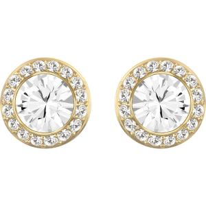 Angelic Stud Pierced Earrings, White, Gold-tone plated 5505470