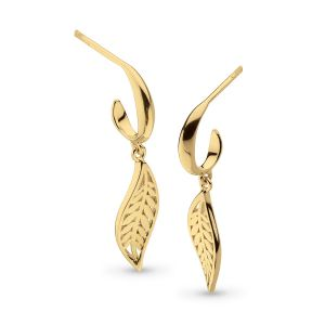 Kit Heath Blossom Eden SmallLeaf Gold Plate Hoop Drop Earrings 60249GD027