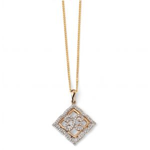 Elements Gold 9ct Yellow Gold Diamond Lace Pendant GP2034
